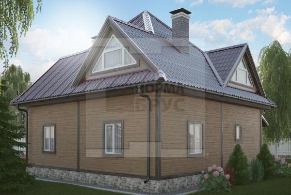 Двухэтажный загородный дом из бруса НД 1-25