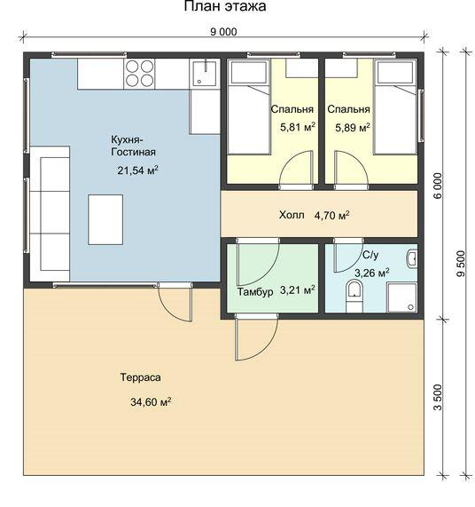 план каркасного одноэтажного дома