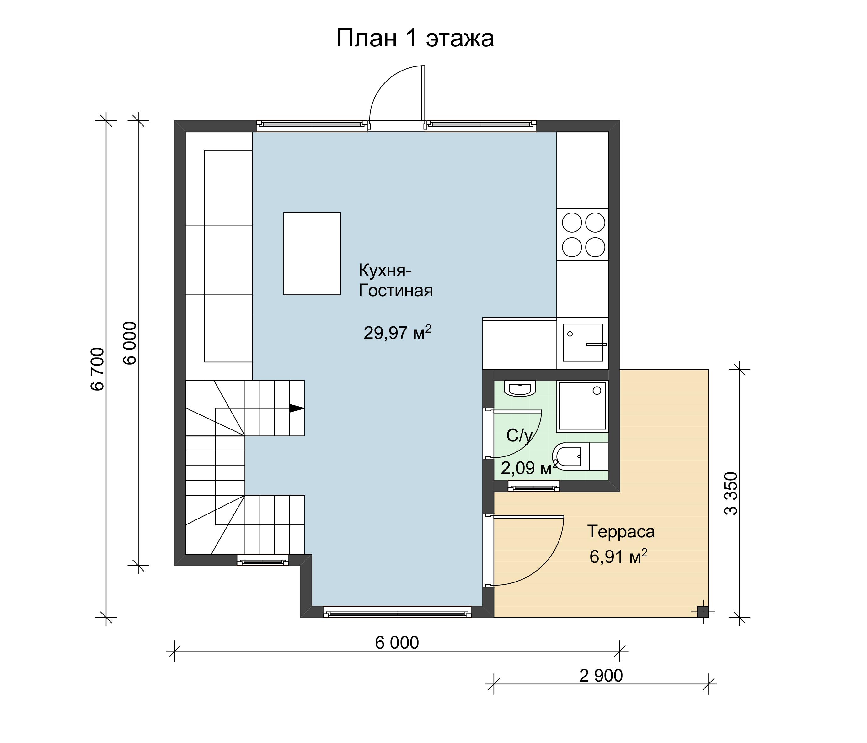 Схема 1 этажа двухэтажного дома по каркасной технологии