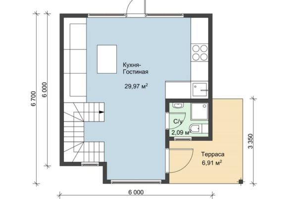 Планировка первого этажа каркасного дома 6 на 6