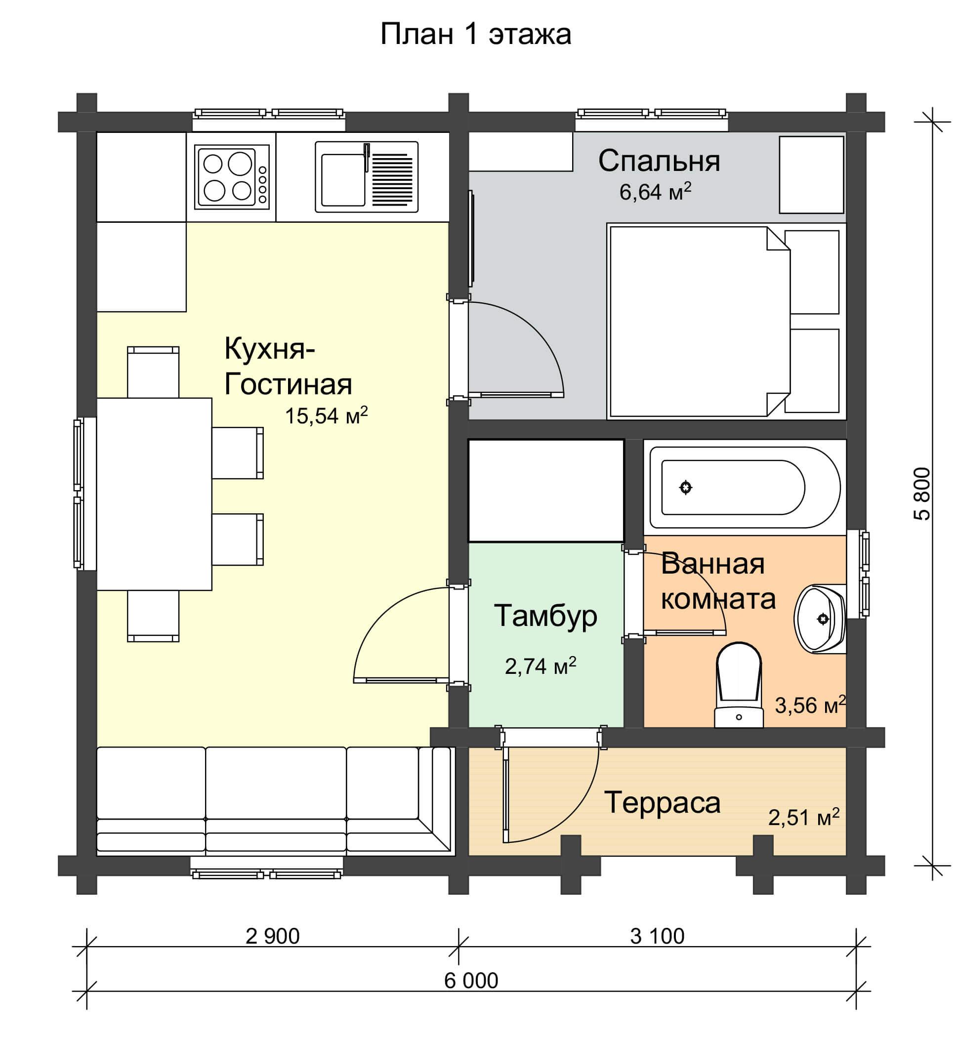 План 1 этажа одноэтажного дачного дома из профилированного бруса НД 1-7