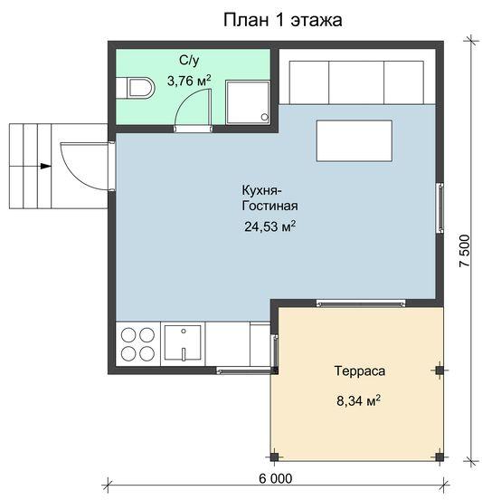 Каркасный дом одноэтажный НК 5 площадью 39 кв.м