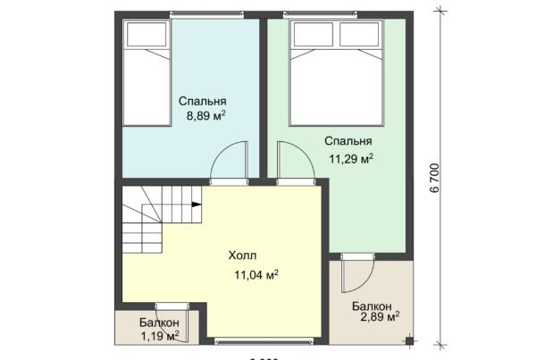 План второго этажа каркасного дома 6 на 6