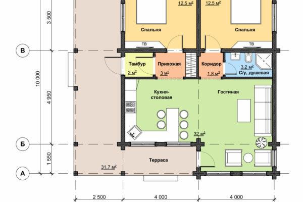 Схема 1 этажа НД 1-41